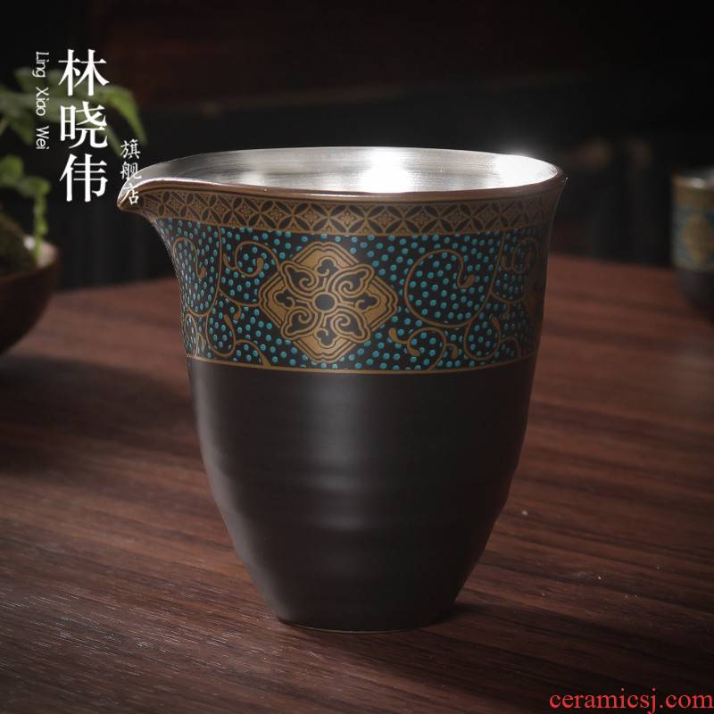 Silver sterling Silver 999 checking ceramic fair keller of tea tea sea points) suit kung fu tea accessories and CPU