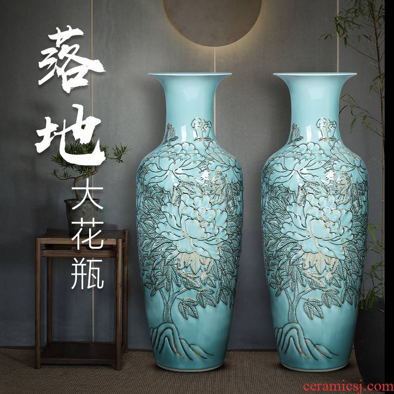 Jingdezhen ceramics anaglyph hand - made paint floor extra large vases, Chinese hotels sitting room adornment is placed