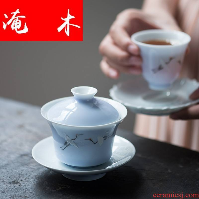 Flooded jingdezhen wood crane, color glaze tureen pure hand - made famille rose porcelain tea four - color hand - made kung fu tea set
