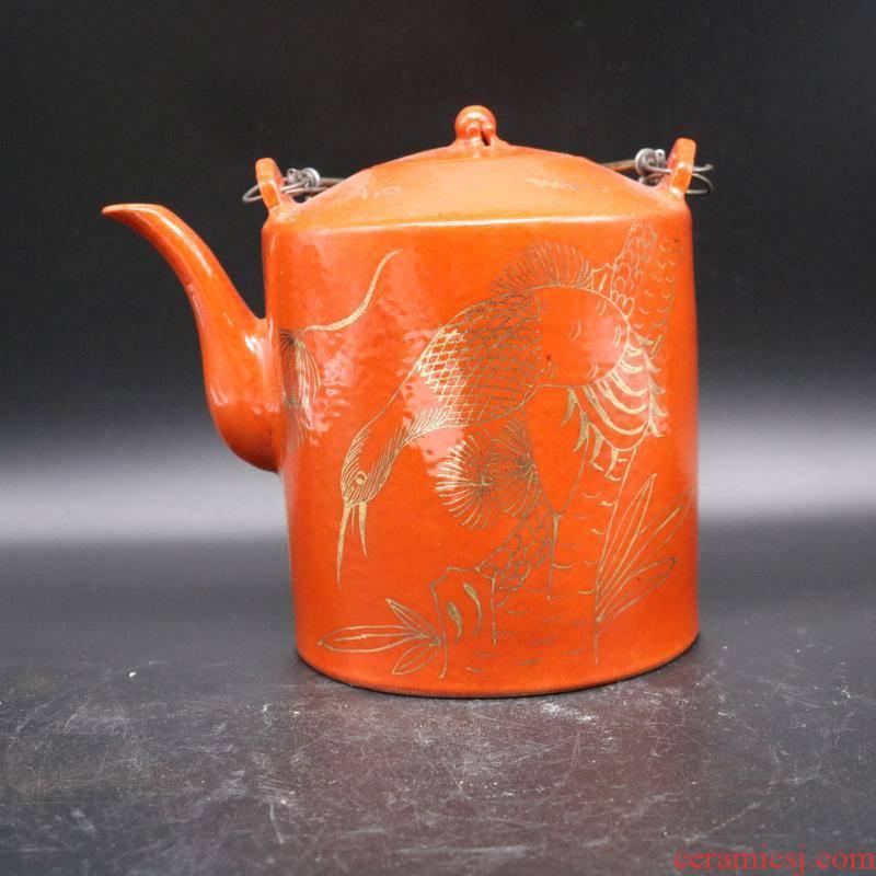 Hand - made dajing year paint prolong life figure teapot collectables - autograph imitation antique porcelain tea set items collection