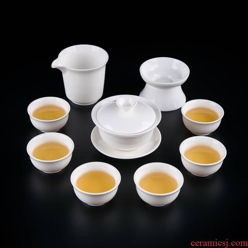 Suet jade white porcelain tureen tea set suit household contracted noggin female jingdezhen ceramic teapot