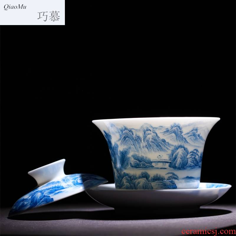 Qiao mu jingdezhen landscape hand - made hand grasp of blue and white porcelain tea tureen worship to use kung fu tea tea for a tea cup