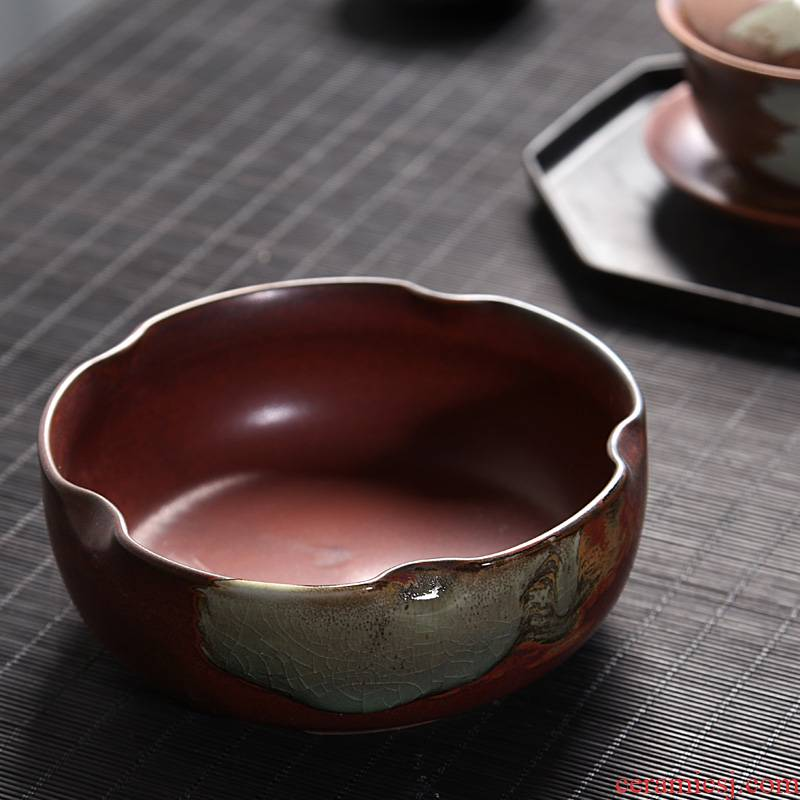 Hui shi coarse pottery large tea to wash to the blue and white porcelain tea set writing brush washer accessories tea six gentleman 's zero water wash dishes