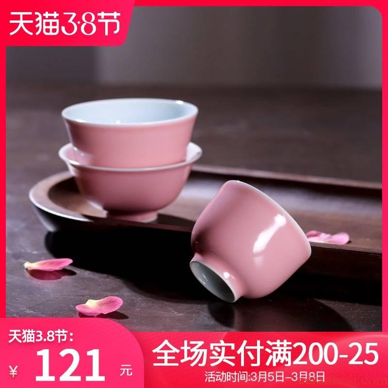 Pink color glaze master cup of jingdezhen ceramic sample tea cup manually kung fu tea set single cup small bowl individual cup