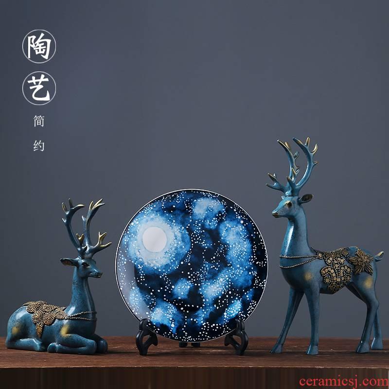 Jingdezhen chinaware plate modern home sitting room porch sat dish hang dish porcelain dish adornment ornament