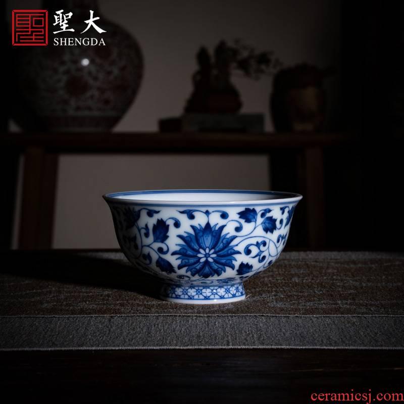 Santa jingdezhen ceramic masters cup pure manual hand - made tea set blue tie up branch treasure grain masters cup sample tea cup