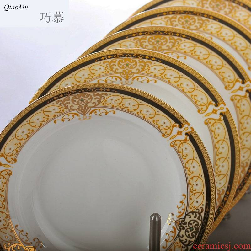 Qiao son longed for ipads porcelain up phnom penh creative ceramic disc 8 inch dumpling dinner plate plate European dishes soup plate deep dish