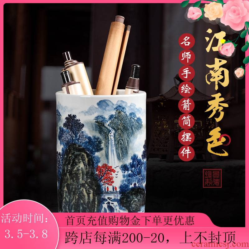 Jingdezhen ceramic vase painting scroll cylinder word picture scroll to receive a cylinder barrel umbrella sitting room of Chinese style study landing place