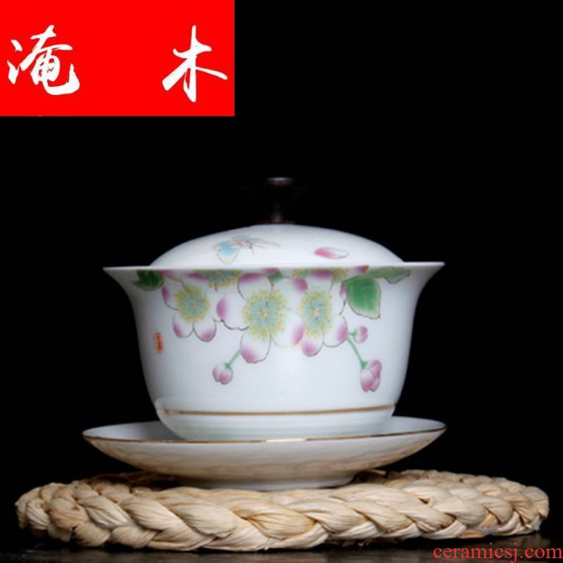 Flooded wooden tea friends white porcelain tureen ceramic see colour manually draw three large bowl with the wooden cover kung fu tea set