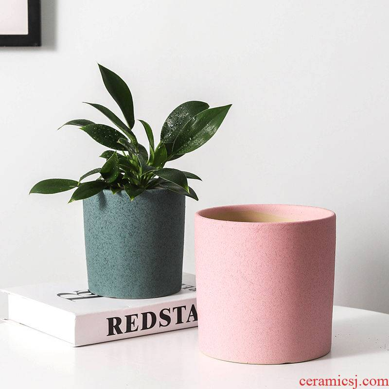 Ceramic contracted Europe type embellish flowerpot creative oversized Chinese wind straight money plant green plant desktop tiger sitting room