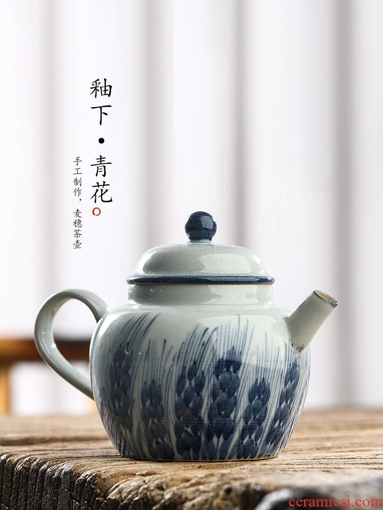 Pure manual jingdezhen blue and white teapot kunfu tea teapot hand - made ball hole, tea pot single pot of Chinese ceramic pot