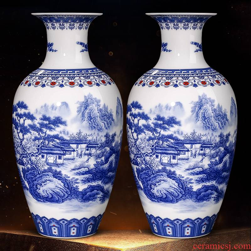 Jingdezhen blue and white porcelain vase furnishing articles of new Chinese style restoring ancient ways is the sitting room of household ceramics archaized decorations arts and crafts