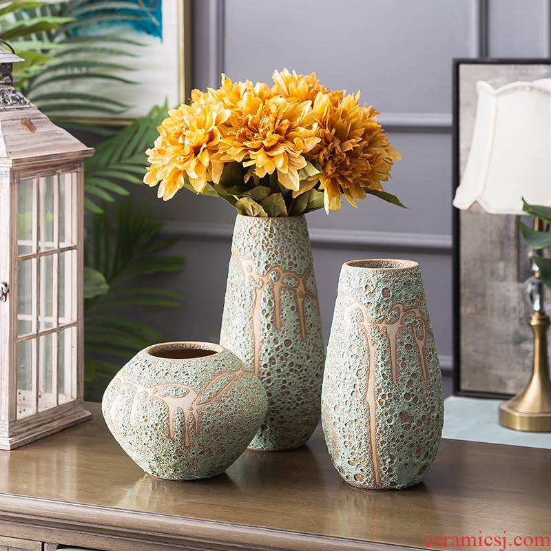 Modern light key-2 luxury ceramic vase furnishing articles simulation flower flowers, dried flowers sitting room TV cabinet table household soft adornment