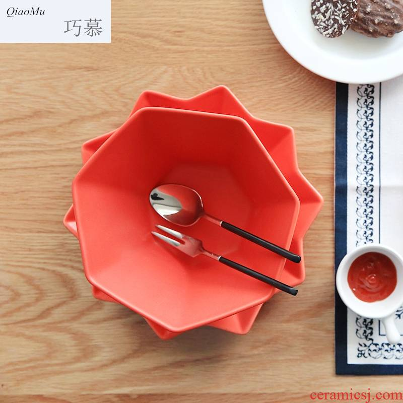Qiao mu Japanese color frosted inferior smooth polygonal ceramic tableware salad bowl noodles bowl of soup bowl W - 31