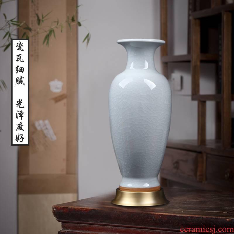 Jingdezhen ceramic vase archaize crack jun porcelain glaze white Chinese porcelain vase flower arrangement sitting room place of borneol