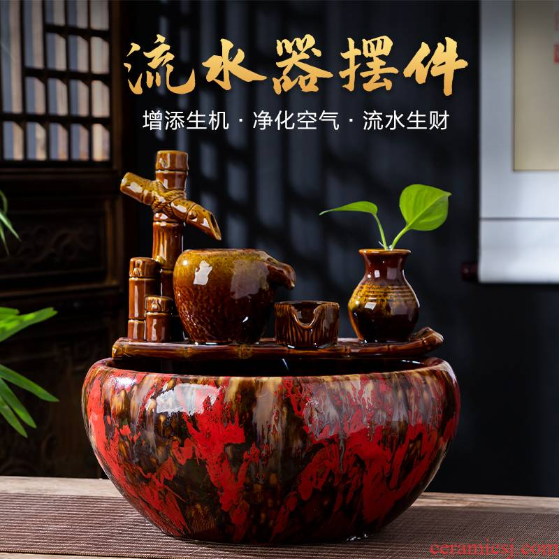 Jingdezhen ceramics when the little novice monk fish tank water furnishing articles creative household automatic cycle fish farming household ornaments