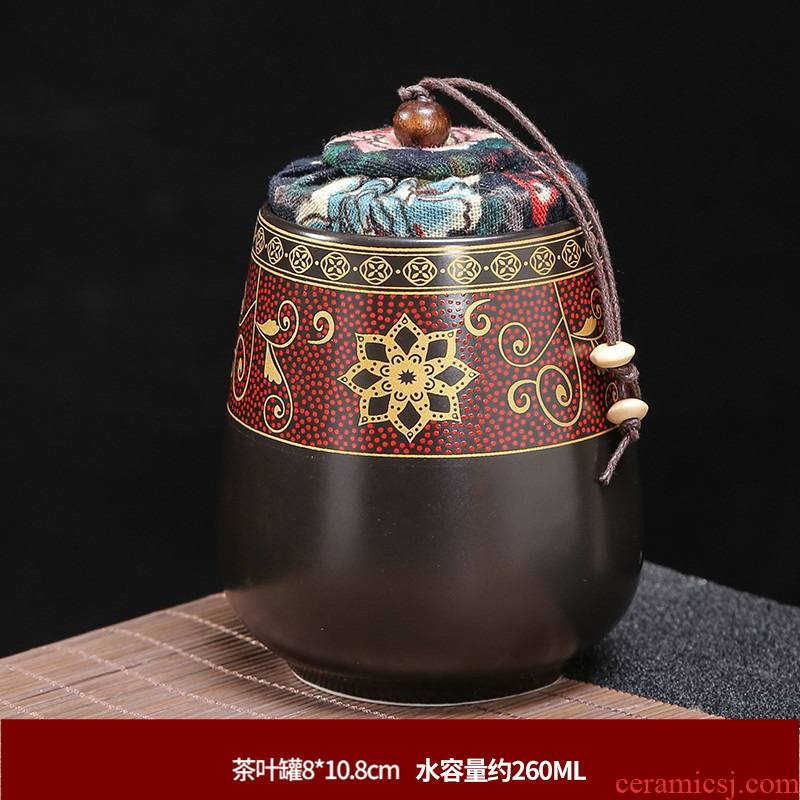 Chinese style tea pot ceramic seal large puer tea tin with household black tea, green tea stored moisture restoring ancient ways
