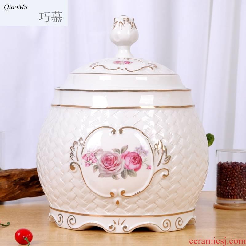 Qiao mu European ceramic insect - resistant moistureproof box storage barrel barrel jar with cover multigrain receive more decorative furnishing articles
