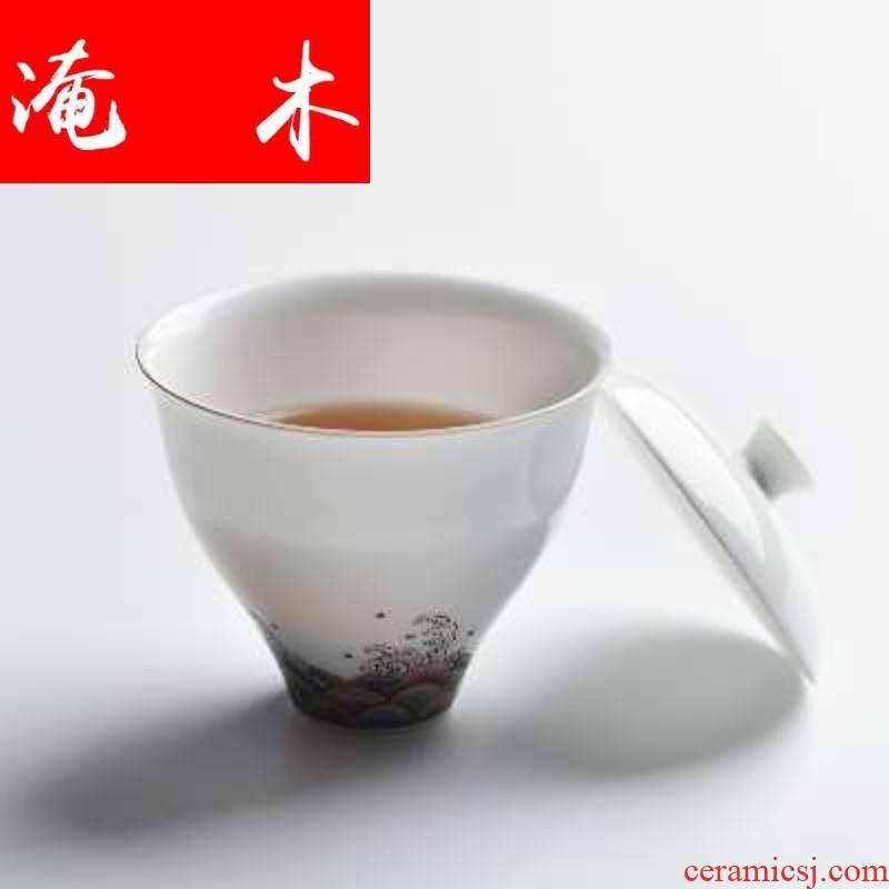 Flooded wooden checking enamel handpainted tureen paint edge tea bowl of jingdezhen ceramic cups kung fu tea set