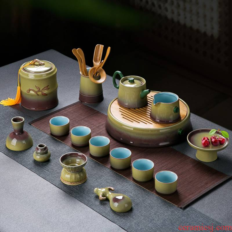 Variable was suit household gifts of a complete set of jingdezhen ice cracked piece sits light mercifully tea tray ceramic tea
