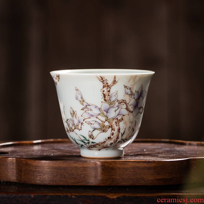 The Owl up with jingdezhen ceramic tea set manually kung fu master sample tea cup flower cup cup for cup under the glaze color hand - made
