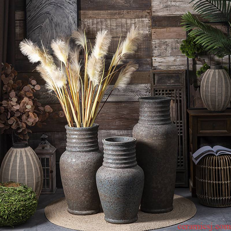 Jingdezhen ceramic vase manual landing restoring ancient ways coarse some ceramic pot dry flower, flower implement sitting room big flowerpot flower arranging furnishing articles