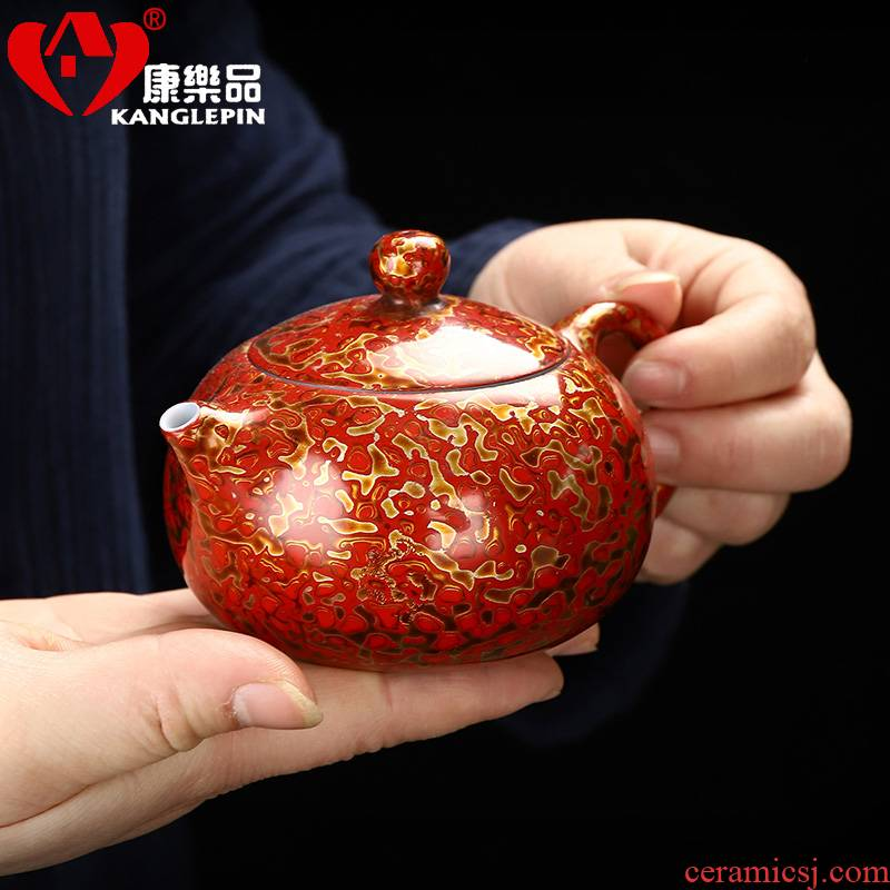 Recreation article 180 ml of Chinese lacquer porcelain beauty pot of pure manual 12.6 7.3 cm wide Chinese lacquer rhinoceros leather tea set
