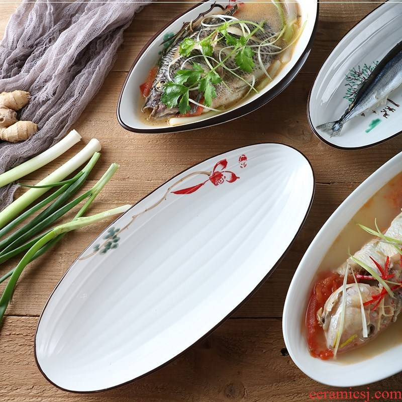 Ltd. hotel restaurant fish plate oval large fish dishes super - sized disc ceramic hotel tableware fish dish