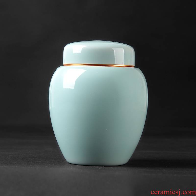 Qiao mu QYX caddy fixings ceramic seal storage tanks longquan celadon small portable tea caddy fixings household ceramics