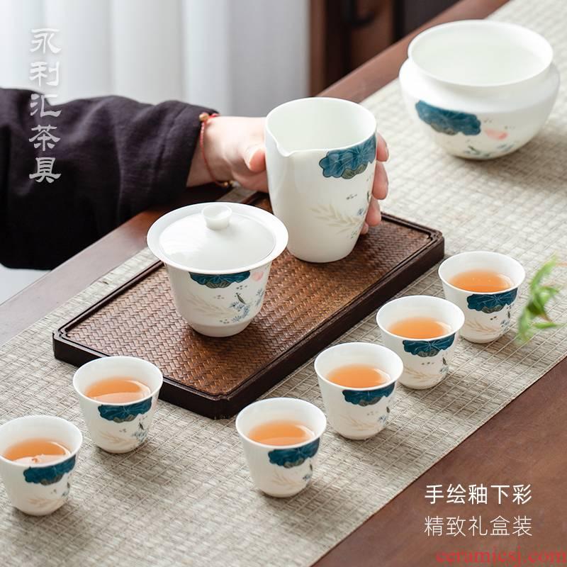 Japanese kung fu tea sets tureen red tea cups tea light key-2 luxury office lounge jingdezhen ceramics