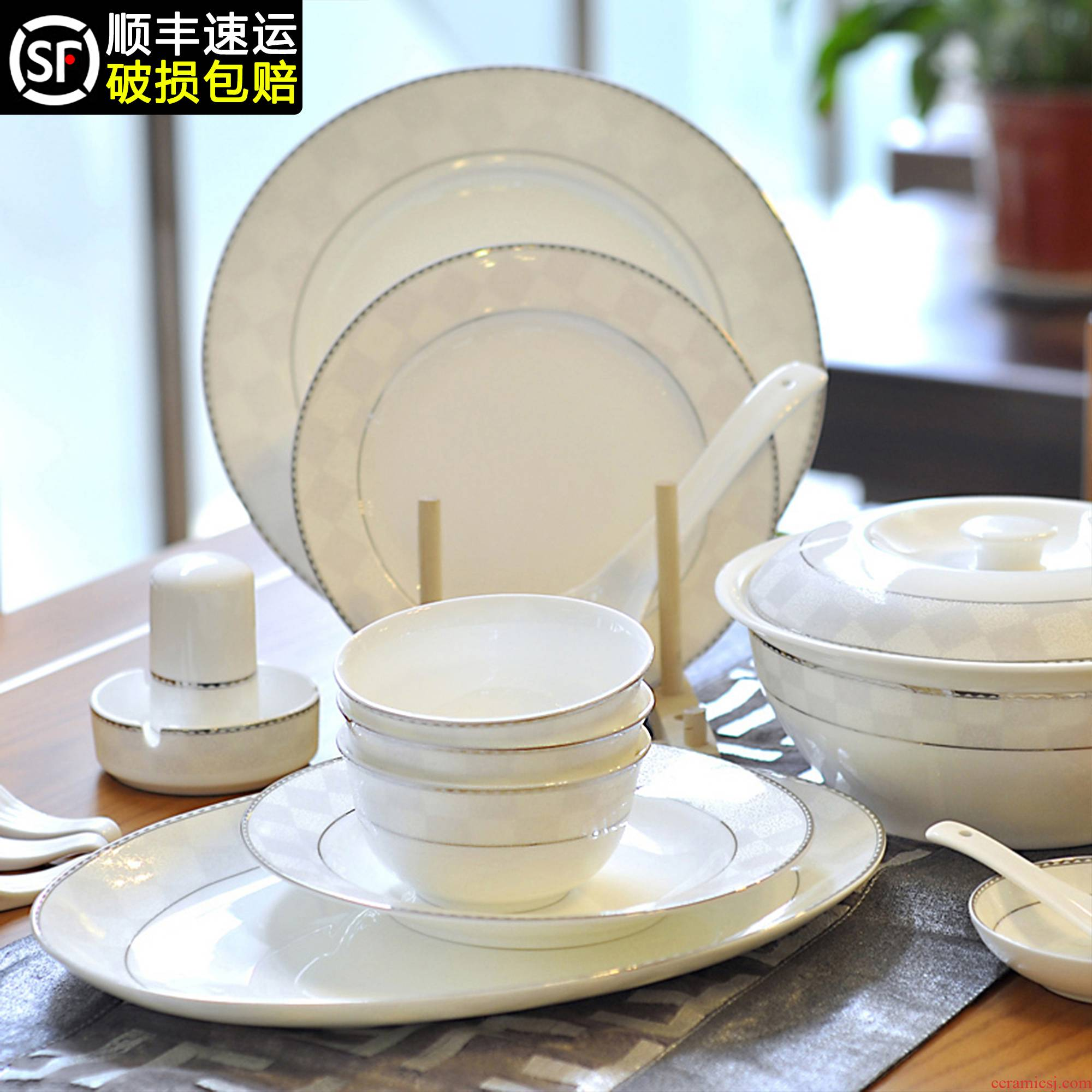 Jingdezhen ceramic tableware Chinese dishes suit household light and decoration plate chopsticks Korean high - grade ceramics from the high level of appearance
