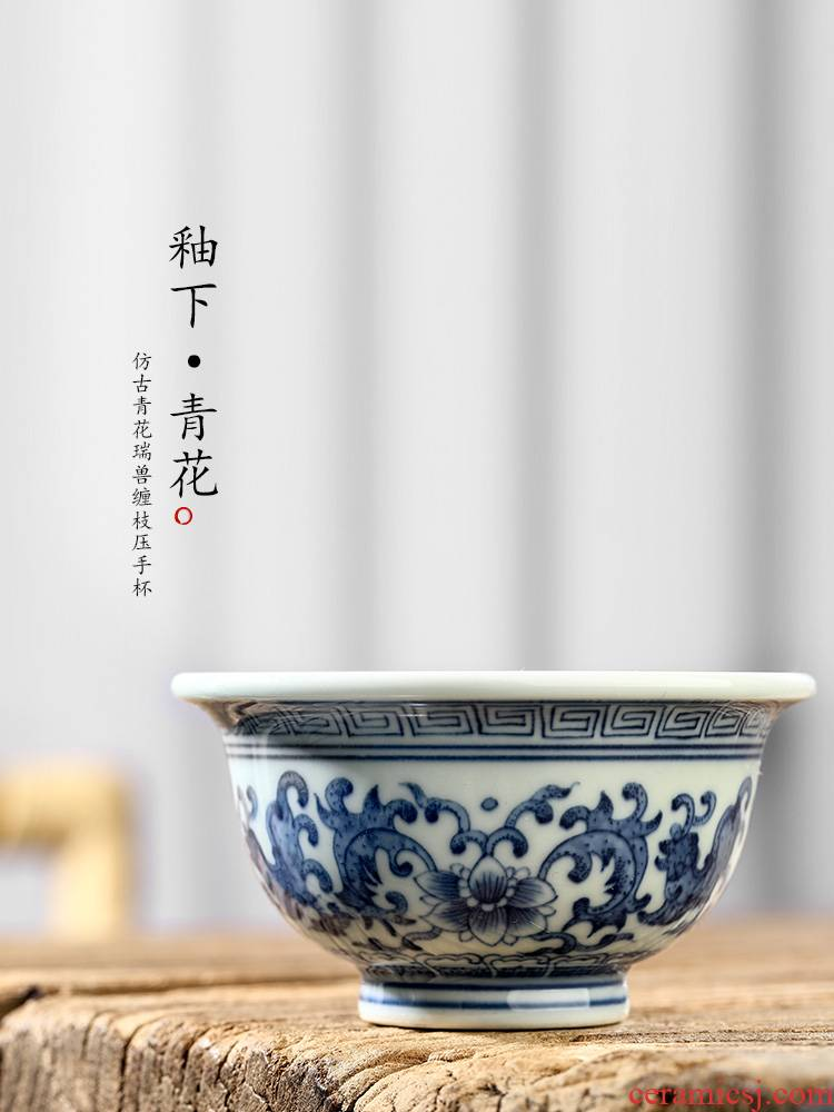 Jingdezhen blue and white master cup single CPU kung fu tea cup pressure hand a cup of pure manual sample tea cup single hand - made lotus flower