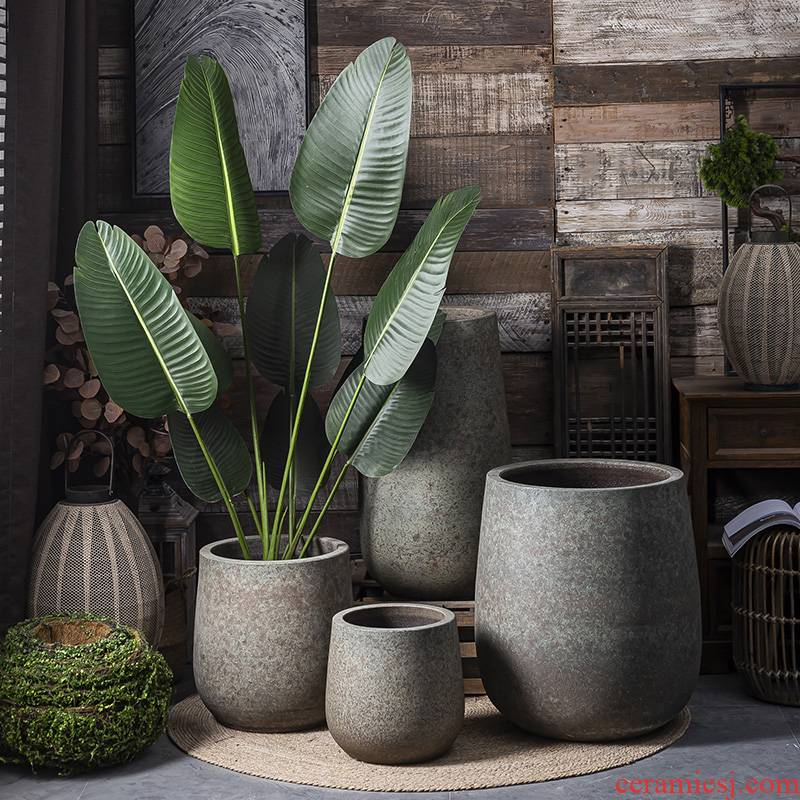 Jingdezhen ceramic flower pot interior decoration of new Chinese style originality retro big green plant cylinder pottery vase landing furnishing articles