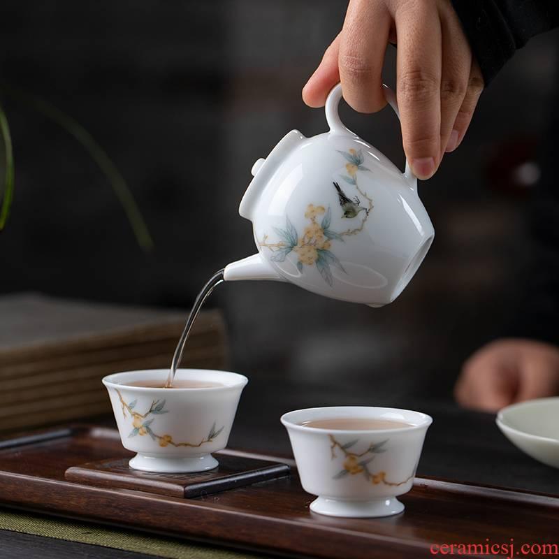 All hand hand draw pastel jingdezhen ceramic teapot kung fu tea set one little teapot use single pot of tea machine