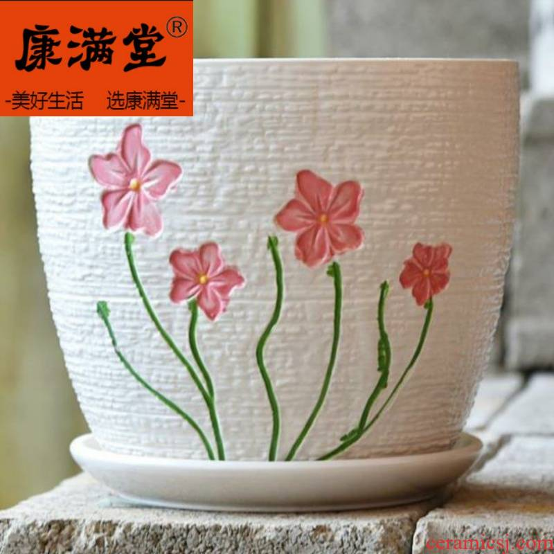 ~ fleshy ceramic restoring ancient ways is the balcony vegetable patch water tanks with tray package mail fleshy flower POTS with tap basin.