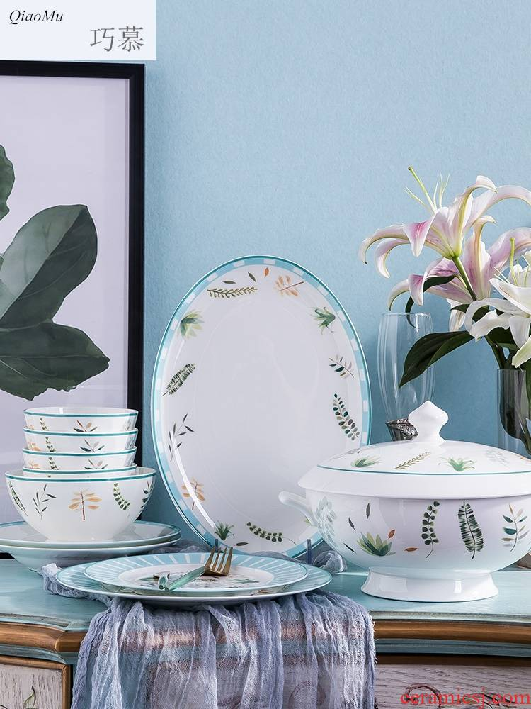 Qiao mu dishes suit dishes of Chinese style household contracted jingdezhen ceramic dish bowl of bowls chopsticks ipads porcelain tableware
