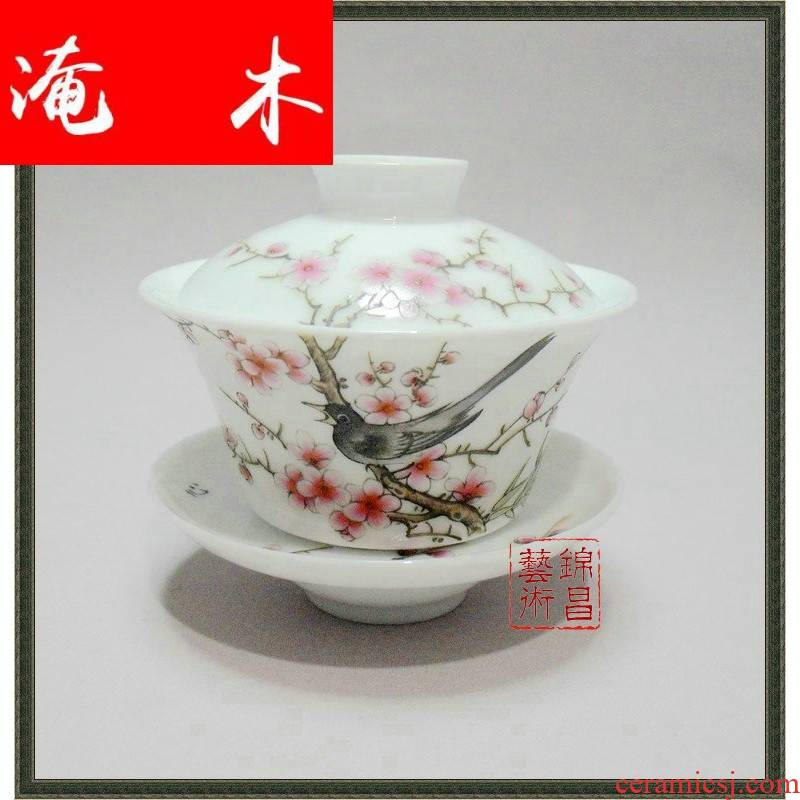 Submerged wood tea set decoration, decorative furnishing articles of jingdezhen ceramics to use hand - made pastel tureen - the magpies name plum