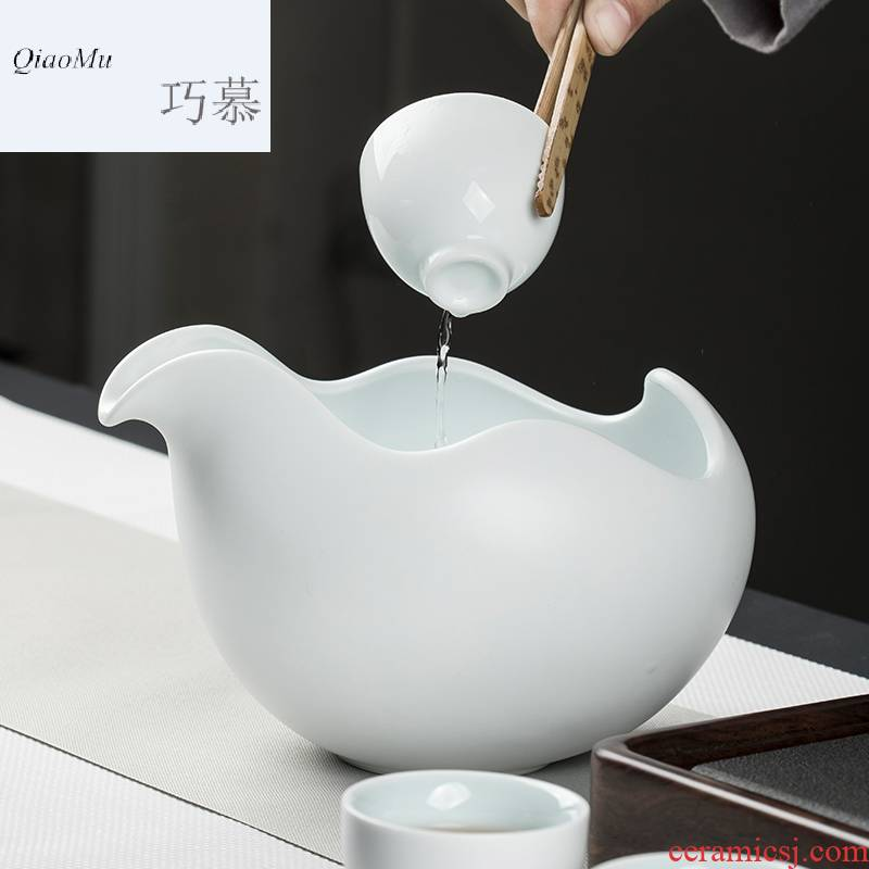 Qiao mu CMJ ceramic tea to wash to large household writing brush washer num jar longquan celadon flower pot tea tea taking of spare parts