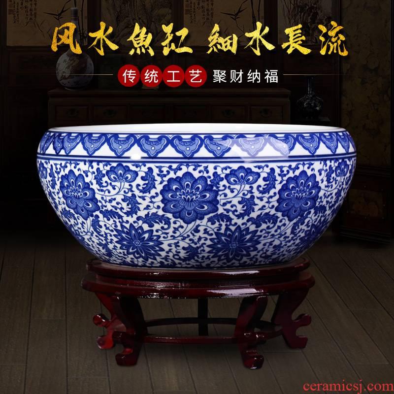 Blue and white porcelain of jingdezhen ceramics goldfish bowl big flowerpot to heavy Chinese style household furnishing articles sitting room balcony decoration