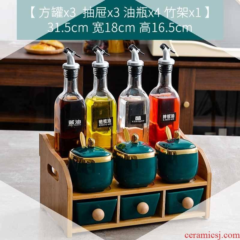 Ceramic condiment boxed set light excessive oil can glass bottle seal pot seasoning salt pot seasoning box of kitchen receive a case