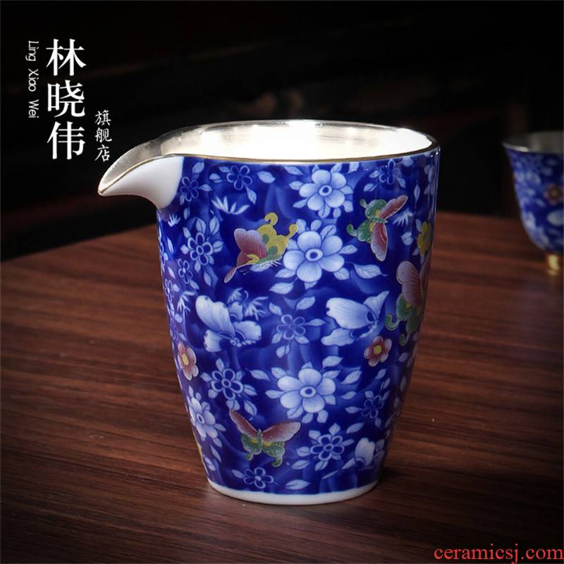 Tasted silver gilding ceramic fair keller hand - made with color of blue and white porcelain tea ware and CPU jingdezhen tea accessories tea by hand