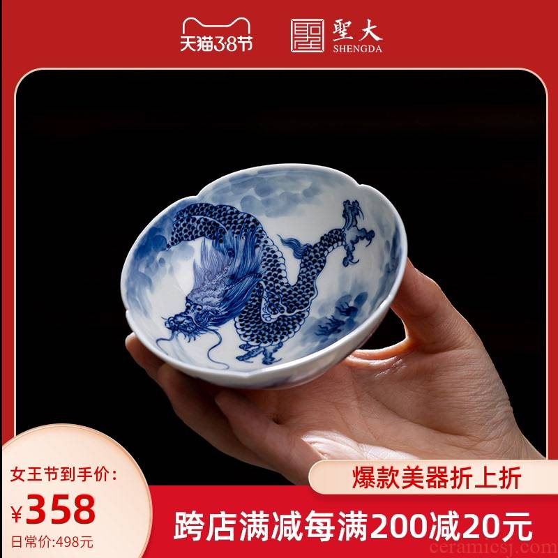 Holy big pure hand - made ceramic kung fu tea cup inside and outside the paint with blue and white YunLongWen haitang all hand of jingdezhen tea service