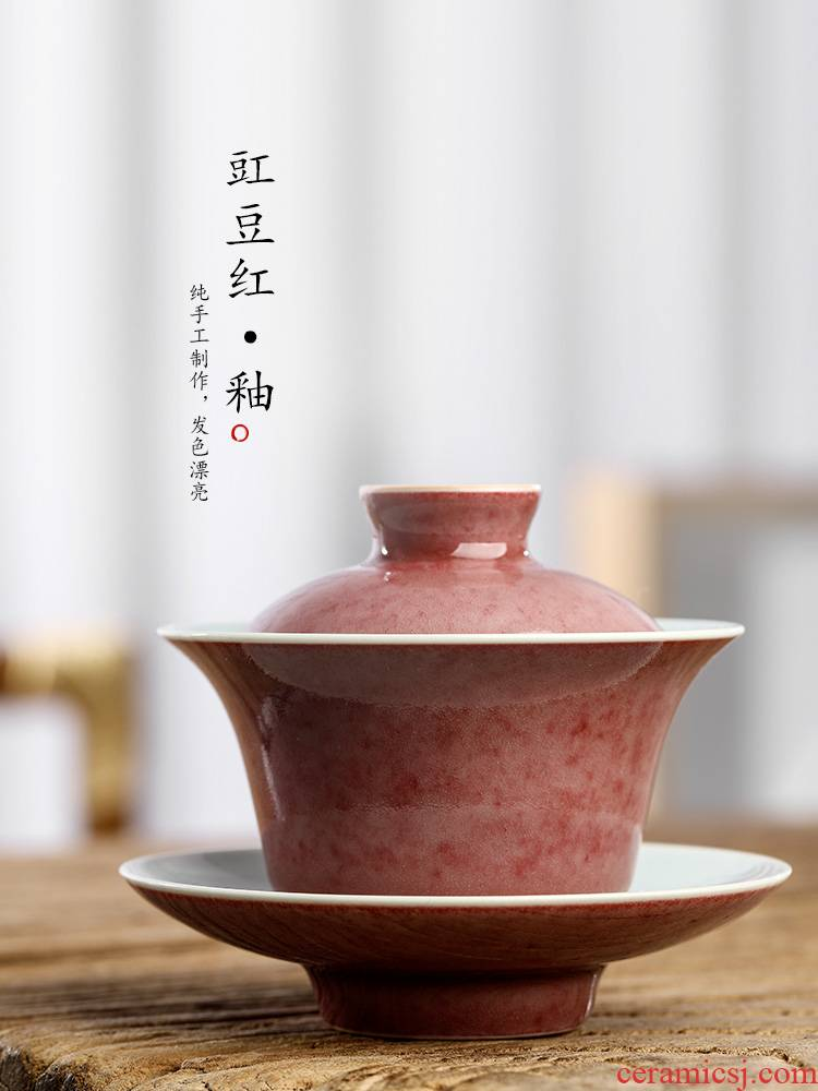 Cowpea red three tureen tea cups only protect hot large jingdezhen ceramic tea set pure manual kung fu always is getting out