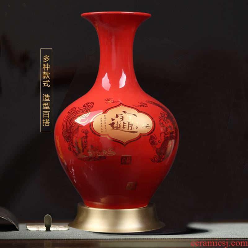 I sitting room porch Chinese jingdezhen ceramics red longfeng maxim vases, Chinese style household decorations