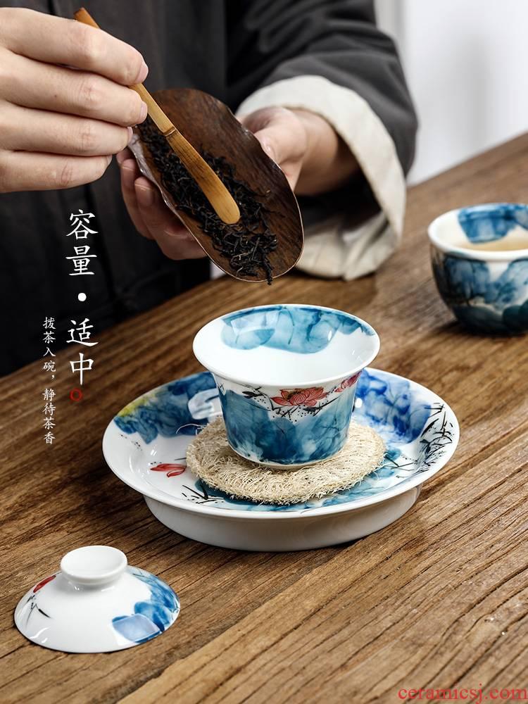 Checking out tea tureen kunfu tea cups are not hot to use individual jingdezhen hand - made lotus ceramic tea set