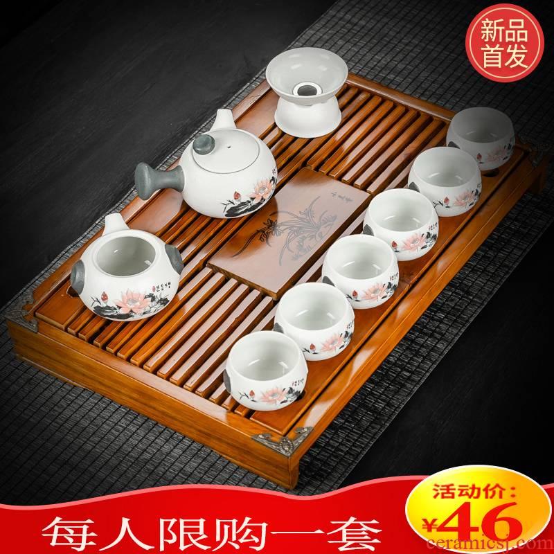Hui shi contracted kung fu tea set home office lazy stone mill small set of tea ware ceramic tea sea solid wood tea