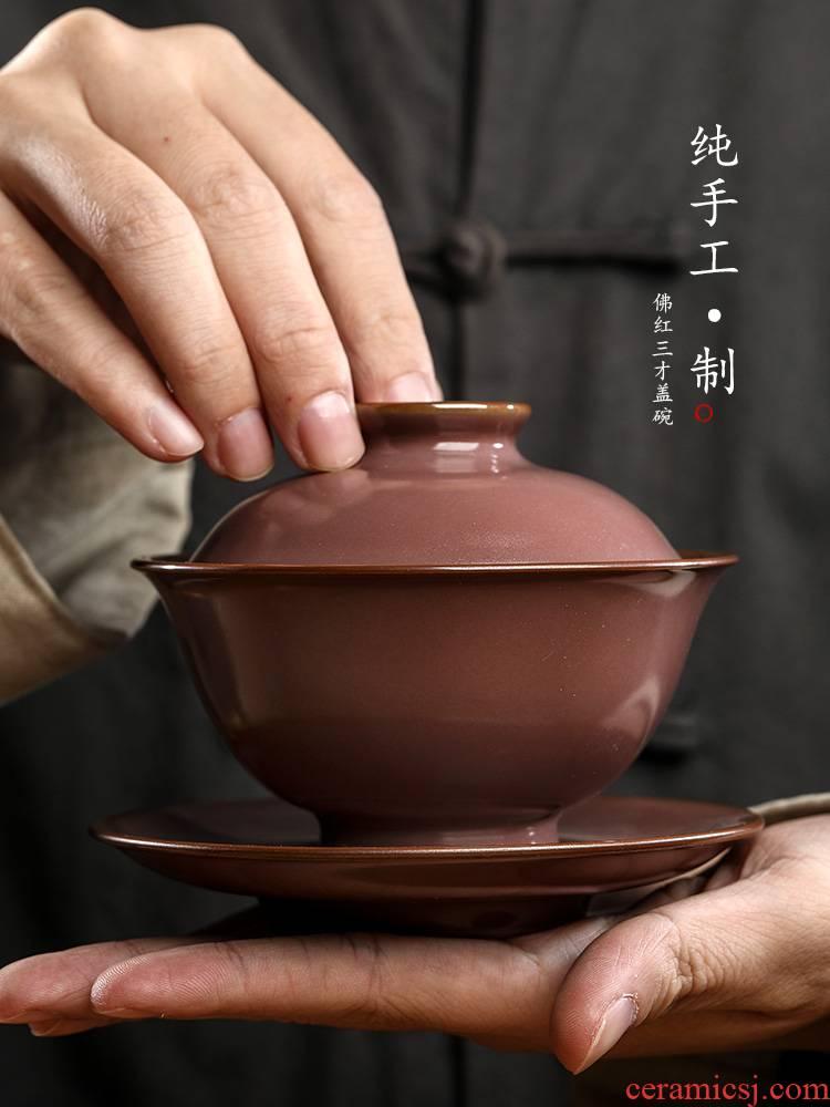 Jingdezhen pure manual only three tureen tea cups prevent hot large red glaze Buddha kung fu tea bowls ceramic tea set
