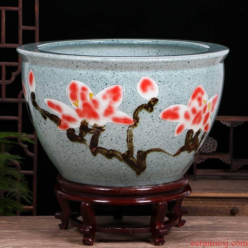 Jingdezhen ceramic aquarium home sitting room the tortoise lotus lotus cylinder feng shui plutus courtyard tank goldfish bowl