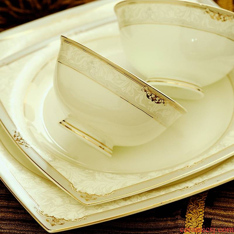 Qiao mu 58 first European dishes suit household jingdezhen up phnom penh wedding gift porcelain dishes set bowl meal