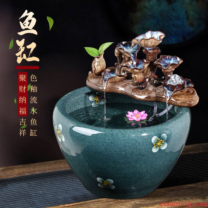 Jingdezhen ceramic desktop water furnishing articles of Chinese style of the sitting room porch lucky goldfish bowl aquarium large ornament